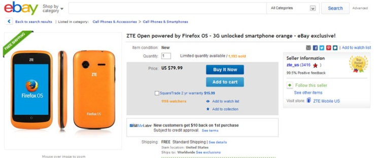 ZTE Open listing on Ebay