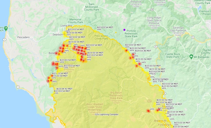 map of the northern part of the CZU fire and its relationship to Asa's home