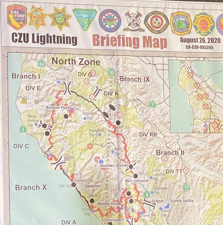 CZU fire briefing map from august 26th, 2020 showing the many divisions of the fire area in the Santa Cruz Mountains
