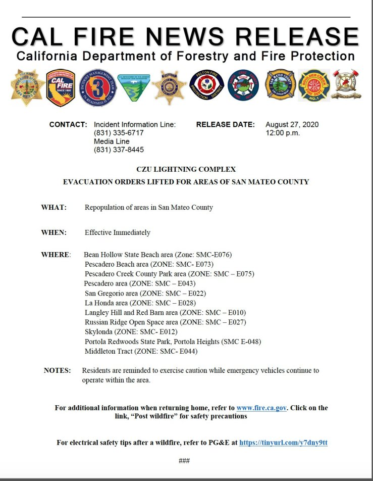 CALFIRE news release document outlining the lifting of evacuations for areas of San Mateo County including Asa's neighborhood