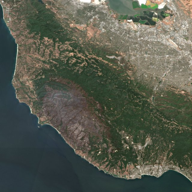 satellite image of the santa cruz mountains after the czu fire