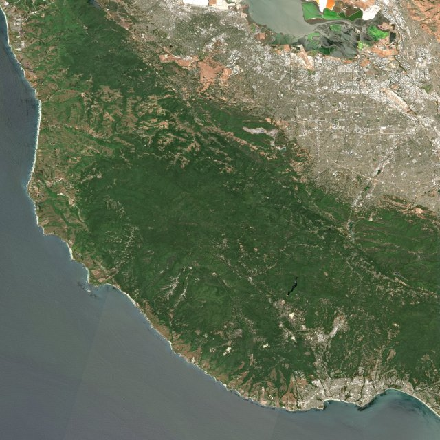 satellite image of the santa cruz mountains before the czu fire