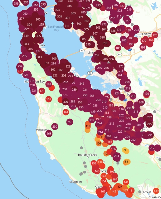 PurpleAir map showing unhealthy to hazardous readings across the Bay Area