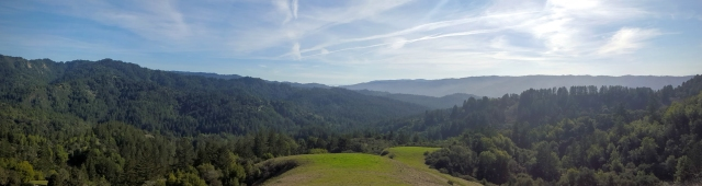 Photograph showing a valley through the Santa Cruz Mountains