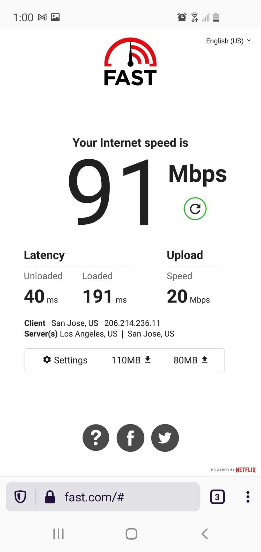 speed test results showing 91 Mbps