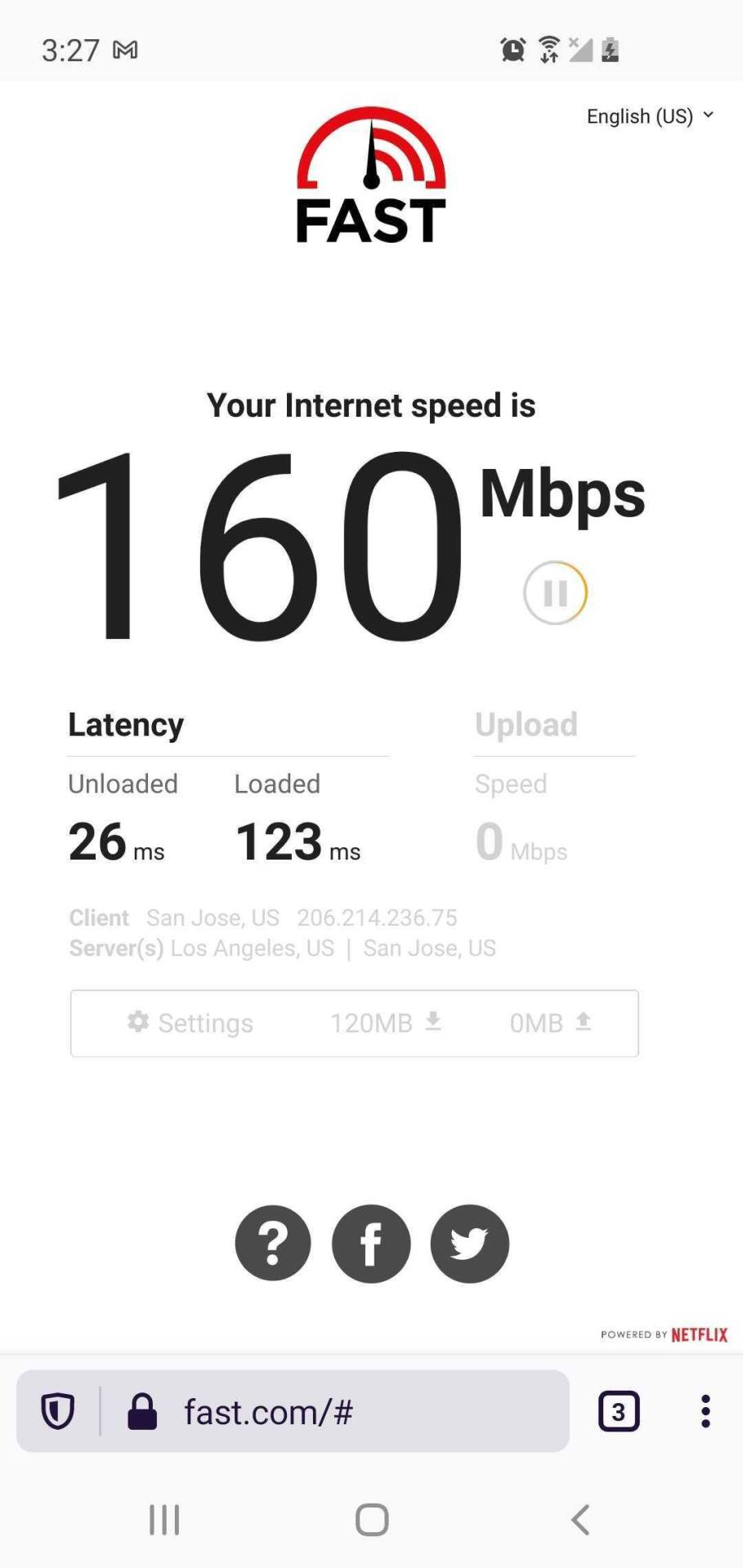 speed test showing 160 Mbps