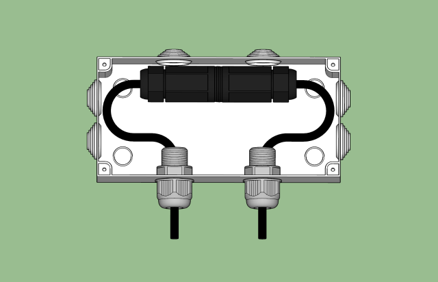 waterproof ethernet coupler inside a waterproof junction box